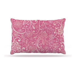 """Kess InHouse - Heidi Jennings """"Too Much Pink"""" Magenta Floral Fleece Dog Bed (50"""" x 60"""") - Pets deserve to be as comfortable as their humans! These dog beds not only give your pet the utmost comfort with their fleece cozy top but they match your house and decor! Kess Inhouse gives your pet some style by adding vivaciously artistic work onto their favorite place to lay, their bed! What's the best part? These are totally machine washable, just unzip the cover and throw it in the washing machine!"""