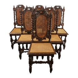 EuroLux Home - 6 Consigned Antique Dining Chairs 1880 French Hunting - Product Details