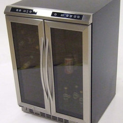 "Avanti - Side-by-side, Dual Zone Wine Cooler, Black Cabinet with Glass Door and Stainless - 24"" Wide French Door Dual Zone Design, Stores Up To 38 Wine Bottles (19 Bottles in Each Zone), Top Mounted Soft Touch Electronic Control & Display For Monitoring Temperature (�C/�F) for Each Zone, Glass Doors with Stainless Steel Frame and Handles, Slide Out Vinyl Coated Wire Shelves, Auto-Lock Controls Prevent Accidental Changes to Settings, Long Life & Cool LED Interior Display Lighting with ON/OFF Switch for Each Zone,  Unit dimensions 34"" H x 23.5"" W x 24.75"" D (w/Handles)"