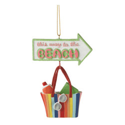 Midwest CBK - This Way To the Beach Tote Christmas Tree Ornament - Holiday Gift Decoration - Beach Tote Dangle Christmas Ornament