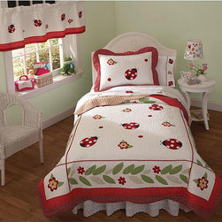 None - Lady BugTwin 2-piece Quilt Set - Help to give your child's bedroom a new look with these twin-sized quilt sets. The sets include a colorful cotton comforter and sham decorated with lady bug appliques, with the comforter containing a polyester filling for warmth and comfort.
