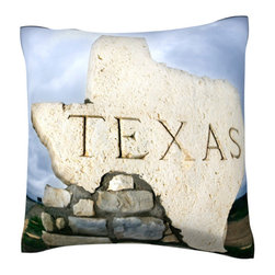 Custom Photo Factory - Texas Sign at Border  Polyester Velour Throw Pillow - Texas Sign at Border 18 x 18 Inches  Made in Los Angeles, CA, Set includes: One (1) pillow. Pattern: Full color dye sublimation art print. Cover closure: Concealed zipper. Cover materials: 100-percent polyester velour. Fill materials: Non-allergenic 100-percent polyester. Pillow shape: Square. Dimensions: 18.45 inches wide x 18.45 inches long. Care instructions: Machine washable