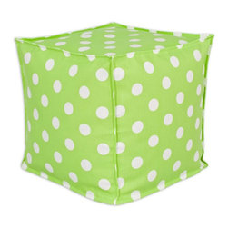 Sands - Breezy Polka Dot Lime  Indoor-Outdoor Accent 17X17 inch Ottoman - Add a modern touch to your home and outdoor with this decorative Ottoman. This Ottoman is designed to accent your home and your outside patio. This soft but durable fabric will accent any room and give your home inside or outside space a stylish look.