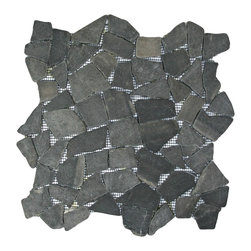 "CNK Tile - Grey Mosaic Tile - Each pebble is carefully selected and hand-sorted according to color, size and shape in order to ensure the highest quality pebble tile available.  The stones are attached to a sturdy mesh backing using non-toxic, environmentally safe glue.  Because of the unique pattern in which our tile is created they fit together seamlessly when installed so you can't tell where one tile ends and the next begins!     Usage:    Shower floor, bathroom floor, general flooring, backsplashes, swimming pools, patios, fireplaces and more.  Interior & exterior. Commercial & residential.     Details:    Sheet Backing: Mesh   Sheet Dimensions: 12"" x 12""   Pebble size: Approx 3/4"" to 2 1/2""   Thickness: Approx 1/2""   Finish: Gray Natural"