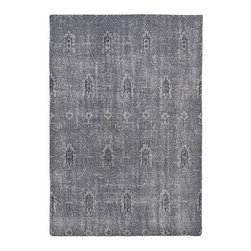 Kaleen Rugs - Restoration Grey Rectangular: 5 Ft. 6 In. x 8 Ft. 6 In. Rug - - The Restoration collection puts the finishing touches on a classic reproduction for some of the most unique rugs in the world. Hand-knotted in India of 100% wool, each rug is intentionally distressed by hand-shearing for authenticity, over-dyed colors for beautiful style, and complete with the smallest little details for the perfect replica of a vintage antique rug. A 100% natural green product and completely free of any latex materials  - Classic Reproduction  - Hand-Knotted Antique Replica  - Pile Height: 0.12-Inch  - Square Feet: 46.75  - Cleaning/Care: Spot clean as needed or for best results please contact a local area rug cleaning professional  - Detailed Rug Colors: Charcoal and Steel Kaleen Rugs - RES01-75-5686