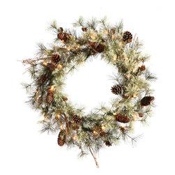 """Vickerman - Dakota Pine Wreath 56 Tips (18"""") - 18"""" Dakota  Wreath 56 PVC Tips  Cones"""