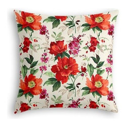 Bright Red Painterly Floral Custom Euro Sham - The secret to those perfectly made beds you eye in magazines? Euro shams. Complete your bed set with a set of Simple Euro Shams for a look that's as stylish as it is snuggly.  We love it in this vibrant floral in warm red, berry and emerald on smooth sateen. Modern in color, traditional in style: an energetic bouquet for any room.