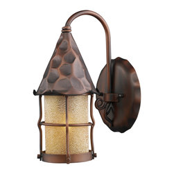 LANDMARK - Elk Lighting Landmark 381-AC Rustica Collection Wall Light - Bring Storybook Flair To An Old English, Cottage Or Spanish Revival-Style Home With The Rustica Collection. Hand-Hammered Iron And Scavo Seedy-Glass Cylinders Characterize This Series, Which May Be Ordered In Matte Black (Bk) With White Scavo Glass Or Antique Copper (Ac) With Amber Scavo Glass. They May Be Used In Both Indoor And Outdoor Locations. (UL Listed).