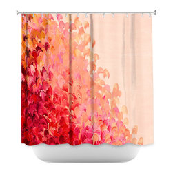 DiaNoche Designs - Shower Curtain Artistic - Creation in Color Coral Pink - DiaNoche Designs works with artists from around the world to bring unique, artistic products to decorate all aspects of your home.  Our designer Shower Curtains will be the talk of every guest to visit your bathroom!  Our Shower Curtains have Sewn reinforced holes for curtain rings, Shower Curtain Rings Not Included.  Dye Sublimation printing adheres the ink to the material for long life and durability. Machine Wash upon arrival for maximum softness. Made in USA.  Shower Curtain Rings Not Included.