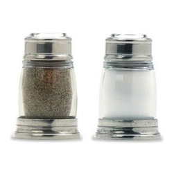 Match Pewter - Salt & Pepper Shaker Set by Match Pewter - In a world dominated by mass production, Match pewter is handmade by artisans in Northern Italy. Its classic forms harmonize with both traditional and modern settings, recalling celebrations at well laid tables. Each piece bears a stamped symbol from the region in which it was made.