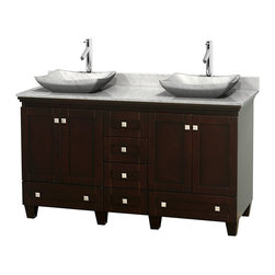 """Wyndham Collection - 60"""" Acclaim Double Vanity w/ White Carrera Marble Top, White Carrera Marble Sink - Sublimely linking traditional and modern design aesthetics, and part of the exclusive Wyndham Collection Designer Series by Christopher Grubb, the Acclaim Vanity is at home in almost every bathroom decor. This solid oak vanity blends the simple lines of traditional design with modern elements like beautiful overmount sinks and brushed chrome hardware, resulting in a timeless piece of bathroom furniture. The Acclaim comes with a White Carrera or Ivory marble counter, a choice of sinks, and matching mirrors. Featuring soft close door hinges and drawer glides, you'll never hear a noisy door again! Meticulously finished with brushed chrome hardware, the attention to detail on this beautiful vanity is second to none and is sure to be envy of your friends and neighbors"""