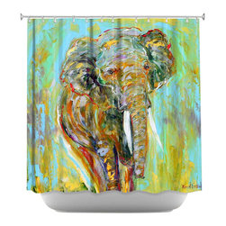 DiaNoche Designs - Shower Curtain Artistic - Elephant - DiaNoche Designs works with artists from around the world to bring unique, artistic products to decorate all aspects of your home.  Our designer Shower Curtains will be the talk of every guest to visit your bathroom!  Our Shower Curtains have Sewn reinforced holes for curtain rings, Shower Curtain Rings Not Included.  Dye Sublimation printing adheres the ink to the material for long life and durability. Machine Wash upon arrival for maximum softness on cold and dry low.  Printed in USA.