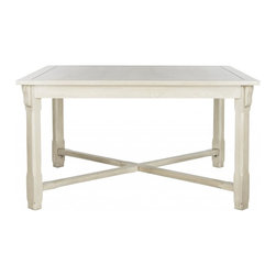 Safavieh - Devin Dining Table, White Washed - Devin Dining Table