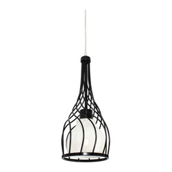 Varaluz - Varaluz Chianti 1-Light Mini Pendant - 6.25W in. Black - 226M01BL - Shop for Pendants from Hayneedle.com! The wine bottle shape of the Varaluz Chianti 1-Light Mini Pendant - 6.25W in. Black is aged to perfection. Thin bands of recycled hand-forged steel create the bottle silhouette while the black finish adds extra elegance. A round pearl glass shade completes the design and the mini pendant includes 120 inches of cable. You ll need to add one 100-watt medium base bulb. About Varaluz:Committed to preserving the earth Varaluz creates products from reclaimed and recycled materials. Most of their lighting fixtures are made from steel containing 70% or greater recycled content and 100% recycled glass. This practice helps cut down on manufacturing waste giving you peace of mind when installing their fixtures in your home.
