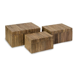 "IMAX CORPORATION - Havana Storage Boxes - Set of 3 - The set of three Havana storage boxes are a natural, attractive storage solution made from pressed water hyacinth. Set of 3 in various sizes measuring around 25""L x 17""W x 9.25""H each. Shop home furnishings, decor, and accessories from Posh Urban Furnishings. Beautiful, stylish furniture and decor that will brighten your home instantly. Shop modern, traditional, vintage, and world designs."