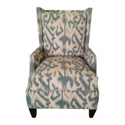 SOLD OUT! Modern Blue Ikat Print Wing Chair - $1,800 Est. Retail - $1,500 on Cha -