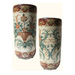 "n/a - Hand Painted Porcelain Umbrella Stand with Florentine Design - This 18"" high Chinese porcelain umbrella stand is delicately hand painted with a Florentine design. This striking piece is both functional and elegant as either an umbrellla stand or a vase for floral arrangements.  Add one of our rosewood vase stands available in a variety of styles and sizes (including pedestal stands) to enhance its presentation. We recommend an 8"" diameter stand."