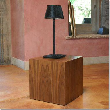 Walnut Cube Table - We love to mix minimalist wood pieces with traditional upholstery. This elegant cube will also look beautiful next to a modern sofa. Choose from Natural Walnut or Walnut stained Pale Black or Chocolate.