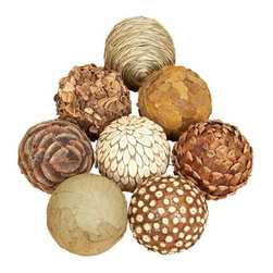 """Benzara - Set of 6 Natural Decorative Bamboo Wood Balls - 4"""" D Set of 6 Natural Decorative Bamboo Wood Balls. Assortment of 6 ball made from natural wooven bamboo. Each ball is 4 inch in diameter."""