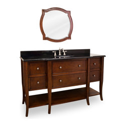 "Cabriole-Legged Vanity Set, Single Sink (Extended Drawer) - This set consists of 48 1/2"" wide solid wood vanity with cabriole legs, preassembled granite top, and matching beveled glass wood framed mirror. Vanity includes six fully working drawers and open bottom shelf for ample storage. Vanity comes preassembled with a 2.5cm black granite top with 4"" tall backsplash, 15"" x 12"" bowl, and cut for 8"" faucet spread."