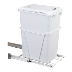 "Rev-A-Shelf - Rev-A-Shelf RV-12PB-LE Single 35 Qt. Pullout Waste Container with Lid - White - This waste bin features a stylish yet durable easy to use sliding system! The white wire frame construction features 100lb rated full-extension 16"" depth ball-bearing slides, which allows the unit to be installed in cabinets where depth may be an issue. The unit comes fully assembled and installs with just four screws! Try the Rev-A-Shelf RV-12PB-LE Single Pullout 35 Quart White Waste Container with Lid in your kitchen today! Physical specifications: 10-5/8"" W x 16"" D x 20-3/8"" H. Please make sure that your cabinet has a minimum opening of at least 10-5/8"" W x 16-1/8"" D x 20-1/2"" H to ensure a proper fit. Note: Lid Included."