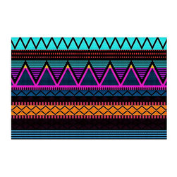 DiaNoche Designs - Area Rug by Organic Saturation - Neon Modern Tribal - Finish off your bedroom or living space with a Woven Area Rug with a Chevron pattern weave from DiaNoche Designs. The last true accent in your home that really ties the room together. Maybe its a subtle rug for your entry way, or an artisti conversation piece in your living area, your decorative floor art will continue to dazzle for many years. MADE IN THE USA!!  Each purchase supports the artist who created the image.  1/4 inch thick. Each rug is machine loomed, washed and pre-shrunk, printed, then hemmed on the edges.   Spot treat with warm water or professionally clean. Dye Sublimation printing adheres the ink to the material for long life and durability.