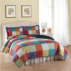 Pem America - Halifax Multicolor Three-Piece Full/Queen Quilt Set - - Classic bright printed in a machine stitched quilt of 100% cotton face and filling  - Set Includes: Queen Quilt and 2 Pillow Shams (20x26 Inches)  - Made with 94% Cotton and 6% Other Fibers  - Pre-Washed For Comfort and Durability.  - Cleaning Care: Machine Wash Cold/Gentle, Do Not Bleach, Tumble Dry Low. Pem America - QS8525QN-2300