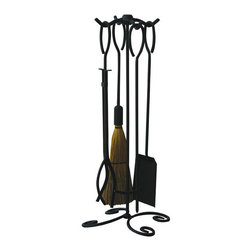 Uniflame - Uniflame F-1187B 5 Piece Black Wrought Iron Fireset w/ Ring Handles - 5 Piece Black Wrought Iron Fireset w/ Ring Handles belongs to Fireplace Accessories Collection by Uniflame
