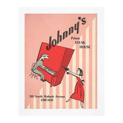 "Cool Culinaria - Johnny's Steak House, 1960 Menu Art, 13x19"" - This is a 1960s menu from Johnny's Prime Steak House in Chicago and we're not sure why a glamorous dame in a red dress is pointing a gun at the piano player. Maybe she was telling him to play her favorite song AGAIN, or she was annoyed that her steak hadn't been broiled to her liking or it was a reference to the gangster history of one of our favorite American cities."