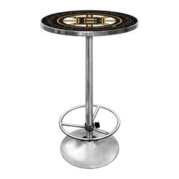 Trademark Global - Round Pub Table w NHL Boston Bruins Logo Tabl - Place this pub table in your game room or bar area and enjoy the stylish acrylic top and scratch resistant design along with the Boston Bruins team logo and chrome frame. The footrest provides maximum comfort, especially when combined with coordinating bar stools. Great for gifts and recreation decor. 0.125 in. Scratch resistant UV protective acrylic top. Full color printed logo is protected by the acrylic top. Table top is trimmed with chrome plated banding. 1 in. Thick solid wood table top. Chrome base with foot rest and adjustable levelers. 28 in. L x 28 in. W x 42 in. H (72 lbs.)This National Hockey League officially licensed pub table is the perfect for your game room on Hockey Night.