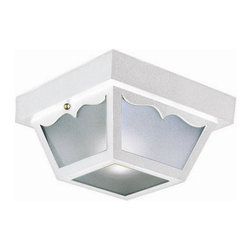 Design House - Outdoor Ceiling Light in White - Requires two 60 watts medium base E27 incandescent bulbs. Frosted glass. Voltage: 120 V. UL listed for damp location. Made from steel. 10.5 in. W x 10.5 in. D x 5.5 in. H (4.07 lbs.). WarrantyOutdoor ceiling mount light greets your guests at the door with a soft, inviting glow. This ceiling mount light has subtle curved details and a shadow box design. The small construction will emit just enough light for easy entry into your home or cottage without overpowering glare. With subtle details and a bright finish, illuminate your front porch or back deck with this fixture. This lamp matches brick, stone, wood paneling or aluminum siding. This mount light will stay bright in harsh weather conditions.