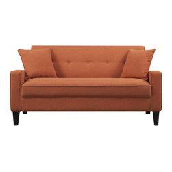 Portfolio Ellie Orange Linen Sofa - A basic linen couch gets a boost when you get it in orange.