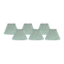 "Lamps Plus - Contemporary Set of 6 Aqua Greek Key Lamp Shades 4x6x5.25 (Clip-On) - These adorable lamp shades come in a set of six and feature an aqua Greek key design. The clip-on fitter allows you to easily incorporate these shades into your decor and the chrome hardware provides a hint of sparkle. A perfect accent to dress up a set of small table lamps. Crafted in the Indiana workshops of A'Homestead Shoppe. Set of 6. Empire hardback shade. Aqua Greek key pattern. Made in USA. Cotton exterior. Clip-on fitter. Unlined. Recommended for use with 25 watt candelabra bulbs 4"" across the top. 6"" across the bottom. 5 1/4"" on the slant.  Set of 6.  Empire hardback shade.  Aqua Greek key pattern.  Made in USA.  Cotton exterior.  Clip-on fitter.  Unlined.  Recommended for use with 25 watt candelabra bulbs  4"" across the top.  6"" across the bottom.  5 1/4"" on the slant."