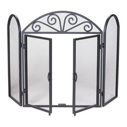 Uniflame - Uniflame S-1184 3 Fold Black Wrought Iron Screen w/ Scrolls - 3 Fold Black Wrought Iron Screen w/ Scrolls belongs to Fireplace Accessories Collection by Uniflame