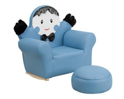 Flash Furniture - Flash Furniture Kids Blue Little Boy Rocker Chair and Footrest - Kids will now get to enjoy furniture designed specifically for their size! This little girl character chair will be a charming piece of furniture that your child is sure to love. This portable chair is great for seating in any room. The vinyl upholstery ensures easy cleaning after accidents or for quick wipe offs.