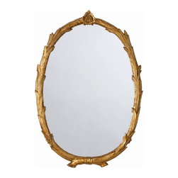 Arteriors - Laurel Mirror, Gold - Overlapping laurel branches intersect gracefully to form the frame of this gold leaf oval mirror.