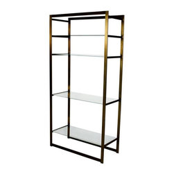 "Pre-owned Milo Baughman Bronze Etagere - Very rare flat-bar brass and glass etagere in brushed bronze tone and 4 removable 1/4"" glass shelves in excellent condition."