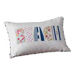 Taylor Linens - Beach Pillow - Celebrate days by the shore — or just dream of them — with this cozy patchwork pillow. Crafted from cotton and machine washable, it comes with a natural feather and down insert, for squishable softness wherever your fantasies take you.