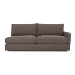 Drake Right Arm Sectional Sofa - A livable mix of family-friendliness and easy elegance with modern European roots. Upholstered in a chunky basketweave of warm heathered greys, the Drake collection offers a host of deep-seated, plump, cushioned pieces for custom lounging solutions in any space.