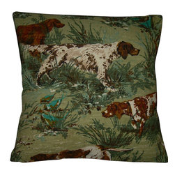 "Mid Century Home USA - Hunting Pillow Cover Barkcloth ""The Hunt #2"" Fox Hunt Vintage Retro 1950's - This pillow cover is made from heavy, nubby barkcloth fabric from the 1950's and depicts a hunting scene complete with hunting dogs. This fabric is very special!  The colors are shades of brown cream, soft greens on a muted soft green backdrop. The back of this pillow is finished in a cream duck cloth.  Size is 17"" X 17"", use a 18"" insert for a plump pillow.  The seams are professionally serged to prevent fraying.  The pillow insert is NOT included.  This is the last one!  There is acoordinating pillow available, The Hunt"".  The two make a beautiful set."