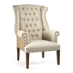 Kathy Kuo Home - Gilles French Country Rustic Tufted Burlap Linen Wing Chair - The classic design of this wing chair is given a modern, casual spin with contrasting fabrics:  a natural flax linen covers the tufted front while burlap jute coats the seat back.  Button tufting and nail head construction add even more visual interest to a chair that will fit beautifully in your French cottage décor or rustic living space.