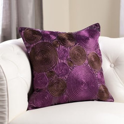 Edie Inc. Luxe Pinwheel Cord Decorative Pillow - Plum