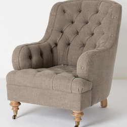 Lunet Chair, Beige - If leather isn't your thing, I love this high-back armchair. It's soft, curvy and lovely.