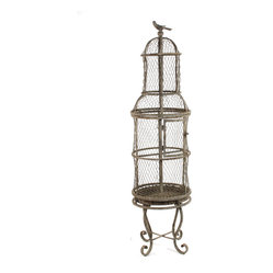 Kathy Kuo Home - French Country Rustic Wire Tall Metal Birdcage - Bring the whimsy of a springtime garden into your French country home with this rustic metal birdcage. Fill the tall-standing cage with flowers and plants to create a striking contrast against its whitewashed wrought iron construction. The top of the vintage cage lifts off for easy access.