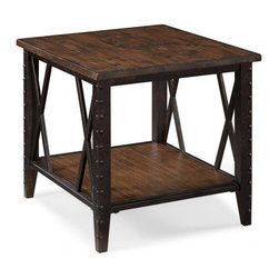 Magnussen Home Furnishings - Fleming Wood and Metal Rectangular End Table - Bring a bold look to any room with this rectangular end table. Featuring wood details that add elegance to the piece, this table can fit most any design scheme. The bottom shelf offers a space to use for storage or to display your favorite knickknacks.