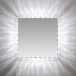 "Marilyn Square Mirror by Edge Lighting - Marilyn 24"" Square radiate light, washing the surrounding wall with a beautiful pattern similar to the glow of the sun. The flourescent version uses eight 18 watt compact fluorescent lamps and krypton version uses eight 20 watt krypton lamps."