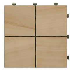 """HandyDeck - Interlocking Sandstone Deck Tiles - EzyTile 12"""" x 12"""" (6 Tiles per box) - The warm brown tones and subtle bands of color of natural sandstone combine perfectly to bring a delightful Tuscan feel to any exterior setting or wherever a soft, natural stone look is desired."""
