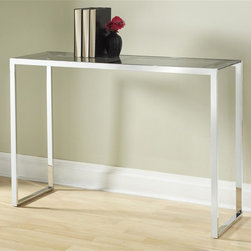 Tag Furniture Group - Lexington Console Table - Coated tempered glass top. Sturdy polished stainless steel frame. Wipe clean with damp cloth. Minimal assembly required. Weight capacity: 60 lbs.. 43.3 in. W x 13.8 in. D x 29.5 in. H (45 lbs.)Adds a modern look to any room in your house.