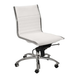 """Eurostyle - Eurostyle Dirk Low Back Swivel Office Chair without Arms in White - Swivel Office Chair without Arms in White belongs to Dirk Low Back Collection by Eurostyle Leatherette over foam seat and back. BIFMA approved chromed steel base. Tilt, swivel and gas lift. PU casters with stainless steel hood. Flat bungee band seat construction inside seat. Seat height 18"""" ��_��_��_ 21"""". More colors. Office Chair (1)"""
