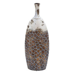 Benzara - Classic Ceramic Vase in Traditional Water Flask Shape - Combining classic artistry with attractive shading techniques, this ceramic vase presents the picture of a wonderful art piece. Shaped like a traditional water flask, this vase can be suitably complemented with flowers or can be placed alone to add beauty to the living space. This excellently designed vase widens broadly at the center to narrow at the top portion with a small opening at the mouth. The top portion is brightly colored in white in rust accents giving it an antique look. The lower portion is designed in a beehive pattern with ash colored lines demarcating the earthy brown hive segments. Easy to be carried around, this vase is sure to enhance your interior decor. This vase is made of high quality ceramic material and is sure to adorn your home stylishly for a long time to come.